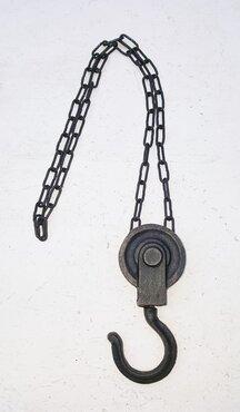 STOER ijzer katrol/lier met ketting rond 6